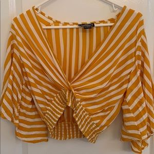 Yellow/White Striped Crop Top